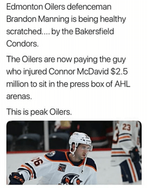 Every time you think this franchise cant be any more of an embarrassment they go and prove everyone wrong🤦‍♂️  -ScoreFace: Edmonton Oilers defenceman  Brandon Manning is being healthy  scratched.... by the Bakersfield  Condors.  The Oilers are now paying the guy  who injured Connor McDavid $2.5  million to sit in the press box of AHL  arenas.  This is peak Oilers.  23 Every time you think this franchise cant be any more of an embarrassment they go and prove everyone wrong🤦‍♂️  -ScoreFace