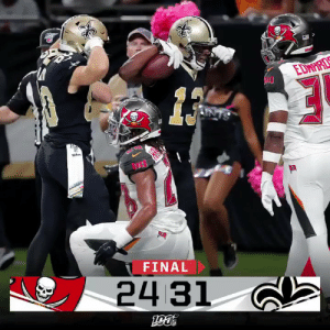 FINAL: FOUR TDs from @teddyb_h2o lead the @Saints to victory over the Buccaneers! #TBvsNO https://t.co/NYSOW90zes: EDNIRDS  NTS  ude  FINAL  24 31 FINAL: FOUR TDs from @teddyb_h2o lead the @Saints to victory over the Buccaneers! #TBvsNO https://t.co/NYSOW90zes