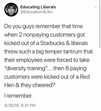 "Starbucks, Time, and Diversity: Educating Liberals  @Education4Libs  Do you guys remember that time  when 2 nonpaying customers got  kicked out of a Starbucks & liberals  threw such a big temper tantrum that  their employees were forced to take  ""diversity training""... . then 8 paying  customers were kicked out of a Red  Hen & they cheered?  l remember.  6/25/18, 8:31 PM"