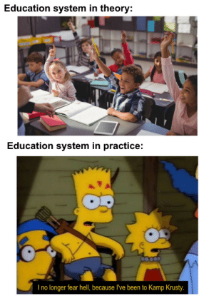 School is Area 51 for humans.: Education system in theory:  Education system in practice:  I no longer fear hell, because I've been to Kamp Krusty. School is Area 51 for humans.
