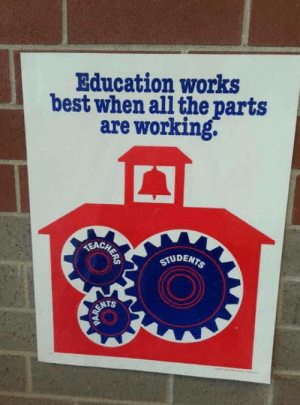 This sign was probably not designed by an engineer: Education works  best when all the parts  are working.  E CHETE  STUDENTS  RENTS This sign was probably not designed by an engineer