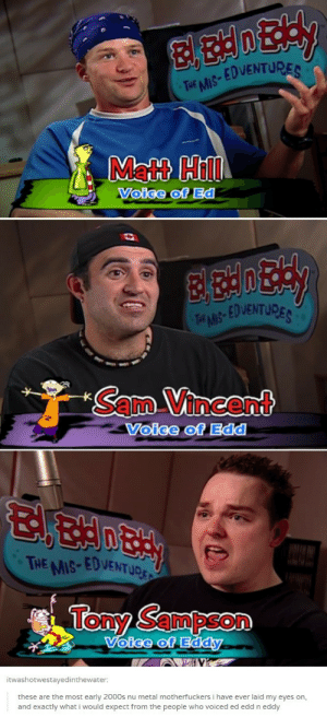 ed edd n eddy: EDVENTU  THE MIS  Matt Hill  Voige of Ed  EDVENTURE  Sam Vincent  Voice of Edd  HE MIS-EDVENTUD  Tony Sampson  oice of Eddy  itwashotwestavedinthewater  these are the most early 2000s nu metal motherfuckers i have ever laid my eyes on,  and exactly what i would expect from the people who voiced ed edd n eddy ed edd n eddy