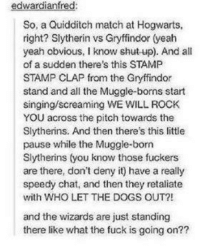 Gryffindor, Memes, and Slytherin: edward  fred:  So, a Quidditch match at Hogwarts,  right? Slytherin vs Gryffindor (yeah  yeah obvious, I know shut-up). And all  of a sudden there's this STAMP  STAMP CLAP from the Gryffindor  stand and all the Muggle-borns start  singingscreaming WE WILL ROCK  YOU across the pitch towards the  Slytherins. And then there's this little  pause while the Muggle-born  Slytherins (you know those fuckers  are there, don't deny it) have a really  speedy chat, and then they retaliate  with WHO LET THE DOGS OUT?!  and the wizards are just standing  there like what the fuck is going on?? Old but gold ~TA Anakin