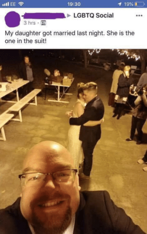 Saw, Twitter, and Got: .EE  19:30  1 19%  LGBTQ Social  3 hrs  My daughter got married last night. She is the  one in the suit! saw this on twitter and it had to be here
