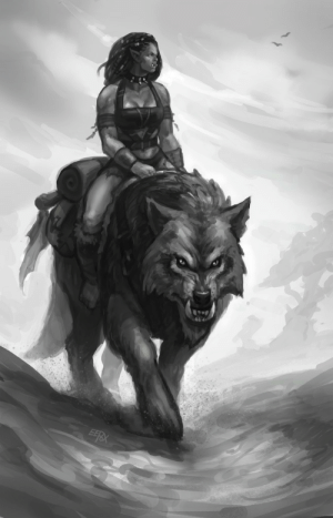 eepoxdraws:  Manata riding her wolf Loska.   Loska is a rather ill-tempered young beast that quickly tries to bite  at people and other mounts if they stray too close. Though ferocious, I  imagine him a bit scrawnier compared to the mighty war wolves of the  elite soldiers of the Horde. Loska means 'slush' in Finnish. I  named the wolf on a whim when someone asked for its name IC; the first  thing I could think of was my late dog and how dirty he got when there  was spring slush outside. I thought it'd be a fitting name for a ragged mount. Today I found out it also means something  related to spitting in Swedish…: eepoxdraws:  Manata riding her wolf Loska.   Loska is a rather ill-tempered young beast that quickly tries to bite  at people and other mounts if they stray too close. Though ferocious, I  imagine him a bit scrawnier compared to the mighty war wolves of the  elite soldiers of the Horde. Loska means 'slush' in Finnish. I  named the wolf on a whim when someone asked for its name IC; the first  thing I could think of was my late dog and how dirty he got when there  was spring slush outside. I thought it'd be a fitting name for a ragged mount. Today I found out it also means something  related to spitting in Swedish…