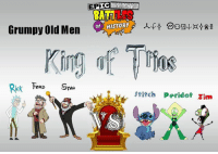 EPIC CHARACTER BATTLES OF HISTORYYYYYYYYYYYYYY!!!!!! KING OF TRIOS V!!!!! ROUND ONE!!!!   Well if Last Nights Opener was a monsterous matchup, right here is the makings of a Championship Calibur Clash in Round One. A Team of Grizzled Veterans who have a lot of technical know how, and also plenty of different talents whether it's game shows, scams, or gettin Shwifty, take on a Team of Invaders, Green and Blue, Technological, Loud, and Strong, in Zim, Peridot, and Stitch. This one is gonna be all kinds of ugly, and that's what King of Trios is all about! Zim is a former Champion, the inaugural winners with Gir and Minimoose! So he will look to use his brilliance to carry this new team to a new title. But Stan is the same, and while he doesn't have the brilliance, he has the brains in other ways to cut corners, and make his way to a quick buck, or in this case, a quick title win once again. It'll be a matter of if these hot heads can gel with their teams themselves. Peridot with the Superiority and also being former tag champs with Zim, and Stitch in general (Who has the lone singles victory over Zim in ECB History), Stans Brotherly Feuding will have to take a backseat as Ford looks to find a tride and true way to win, and Rick well, he's probably met Ford in his Travels, and as far as Stan, well I'm sure they'll get along just fine. But how fine will be enough for these teams? They've both seen a lot, but they're about to meet each other, and only one of them can advance into Bracket A's final, and Round 2... will Stan, Ford, and Rick have a winning combo of surly and scientific? Or are the Aliens going to conquor this matchup?? IT'S GONNA BE A TOUGH ONE, IT'S TIME TO SEE WHO WANTS IT MORE!! Who Wins?? YOU DECIDE!! Leave a comment below on who you want to win, and the results shall be tallied and posted tomorrow! And as always, Enjoy!: EF  Grumpy old Men  of HISTORY  King Thine  Rick FORD  STAN EPIC CHARACTER BATTLES OF HISTORYYYYYYYYYYYYYY!!!!!! KING OF TRIOS V!!!!! 