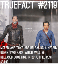 """Looks like it'll be a familiar eyepopping scene! TWD TheWalkingDead WalkingDead (it'll come with his """"Maggie.. I'll find you"""" head): EFAC  TWDTRUEFACTS  TTOYAR  MCFARLANE TOYS ARE RELEASING A NEGAN/  GLENN TWO PACK WHICH WILL BE  RELEASED SOMETIME IN 2017, IT LL COST  $3499 Looks like it'll be a familiar eyepopping scene! TWD TheWalkingDead WalkingDead (it'll come with his """"Maggie.. I'll find you"""" head)"""