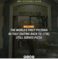 First established in 1738 as a stand for peddlers, Antica Pizzeria Port'Alba was opened in 1830 in the town center at Via Port'Alba 18. The restaurant replaced street vendors who would make pizza in wood-fired ovens and bring it onto the street, keeping it warm in small tin stoves they balanced on their head. It soon became a prominent meeting place for men in the street. Most patrons were artists, students, or others with very little money, so the pizzas made were generally simple, with toppings such as oil and garlic. A payment system, called pizza a otto, was developed that allowed customers to pay up to eight days after their meal. A resulting local joke was that a meal from Port'Alba might be someone's last free meal, if they died before they paid. Additionally, patrons created poetry to honor the pizzas. Antica Pizzeria Port'Alba is still in business today, located between a number of bookstores. AnticaPizzeria italy pizza ⠀ source : Wikipedia: EFACTSPERT  THE WORLD'S FIRST PIZZERIA  IN ITALY (DATING BACK TO 1738)  STILL SERVES PIZZA First established in 1738 as a stand for peddlers, Antica Pizzeria Port'Alba was opened in 1830 in the town center at Via Port'Alba 18. The restaurant replaced street vendors who would make pizza in wood-fired ovens and bring it onto the street, keeping it warm in small tin stoves they balanced on their head. It soon became a prominent meeting place for men in the street. Most patrons were artists, students, or others with very little money, so the pizzas made were generally simple, with toppings such as oil and garlic. A payment system, called pizza a otto, was developed that allowed customers to pay up to eight days after their meal. A resulting local joke was that a meal from Port'Alba might be someone's last free meal, if they died before they paid. Additionally, patrons created poetry to honor the pizzas. Antica Pizzeria Port'Alba is still in business today, located between a number of bookstores. AnticaPizzeria italy pizza ⠀ source : Wikipedia