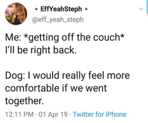Comfortable, Iphone, and Twitter: - EffYeahSteph -  @eff_yeah_steph  Me: *getting off the couch*  I'll be right back  Dog: I would really feel more  comfortable if we went  together.  12:11 PM 01 Apr 19 Twitter for iPhone Fine by me buddy