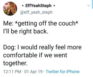 Best Friend, Comfortable, and Iphone: - EffYeahSteph -  @eff_yeah_steph  Me: *getting off the couch*  I'll be right back  Dog: I would really feel more  comfortable if we went  together.  12:11 PM 01 Apr 19 Twitter for iPhone A man's best friend