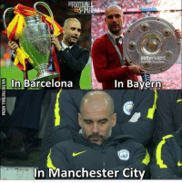 Barcelona, Memes, and Getty Images: EFOOTBAL  getty images  xander Hagsonstein  E In Barcelona  In Bayern  In Manchester City Poor pep😢