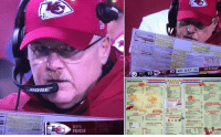 THE TRUTH behind Andy Reid's clock-management issues.: EFS  ENSE  1st & Goal  PIT 18  KC  10  4th 3:17  BREAKFAST  WIA FILE  HOUSE  LUNCH/DINNER  SANDWICHES  N FRE  FFEE  & Soul  JU  SEVERAGES  STEAKS  CHEESE  EGGS  G DEA THE TRUTH behind Andy Reid's clock-management issues.
