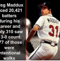 Greg Maddux was such a BEAST: eg Maddux  ced 20,421  batters  during his  career and  ly 310 saw  3-0 count.  77 of those  Were  ntentional  walks Greg Maddux was such a BEAST