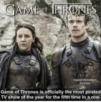 Despite HBOs tightening of security and legal threats to distributors Game of Thrones has retained its title as Most Pirated TV Show. Season 6 only had one episode leaked before it's airing compared to 4 episode in season 5. • • What do you think of leaked episodes and pirating? - - gameofthrones gameofthronesseason6 got gotseason7 hbo pirating leaked jonsnow cerseilannister jaimelannister theongreyjoy theon yaragreyjoy facts: eGAMEOFTHRONES FACTS  INSTA GRAM  Game of Thrones is officially the most pirated  TV show of the year for the fifth time in a row. Despite HBOs tightening of security and legal threats to distributors Game of Thrones has retained its title as Most Pirated TV Show. Season 6 only had one episode leaked before it's airing compared to 4 episode in season 5. • • What do you think of leaked episodes and pirating? - - gameofthrones gameofthronesseason6 got gotseason7 hbo pirating leaked jonsnow cerseilannister jaimelannister theongreyjoy theon yaragreyjoy facts