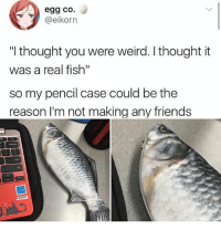 """I think it's pretty cool tbh • Follow @savagememesss for more posts daily: egg co.  @elkorn  """"I thought you were weird. I thought it  was a real fish""""  so my pencil case could be the  reason I'm not making any friends I think it's pretty cool tbh • Follow @savagememesss for more posts daily"""