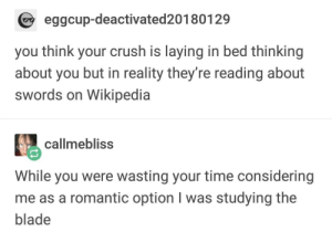 Your Crush: eggcup-deactivated20180129  you think your crush is laying in bed thinking  about you but in reality they're reading about  swords on Wikipedia  callmebliss  While you were wasting your time considering  me as a romantic option I was studying the  blade Your Crush