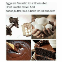 Gym, Link, and Diet: Eggs are fantastic for a fitness diet.  Don't like the taste? Add  cocoa,butter,flour & bake for 30 minutes! Eggs. . @DOYOUEVEN 👈🏼 10% OFF STOREWIDE + NEW RELEASE! 🎉 use code DYE10 ✔️ link in BIO