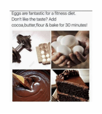 Funny, Diet, and Fitness: Eggs are fantastic for a fitness diet.  Don't like the taste? Add  cocoa,butter,flour & bake for 30 minutes! My thoughts exactly! https://t.co/hbqdUZtGf2