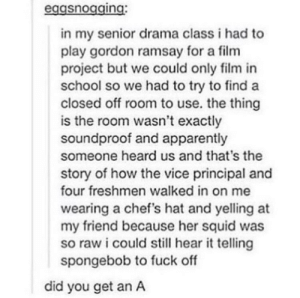 Apparently, Gordon Ramsay, and School: eggsnogging:  in my senior drama class i had to  play gordon ramsay for a film  project but we could only film in  school so we had to try to find a  closed off room to use. the thing  is the room wasn't exactly  soundproof and apparently  someone heard us and that's the  story of how the vice principal and  four freshmen walked in on me  wearing a chef's hat and yelling at  my friend because her squid was  so raw i could still hear it telling  spongebob to fuck off  did you get an A Did you get an A