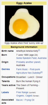 Music, Amethyst, and Australia: Eggy Azalea  Eggy Azalea when fried 'sunny side up  Background information  Birth name Amethyst Amelia Kelly!1  Born  7 June 1990 (age 24)  Some Random Field, Australia  Probably another planet,  Australia  Farm Music Post-punk  Agriculture Neo Dubstep2  Origin  Genres  Occupations Breakfast Lunch Dinner  Talents  Years active The Dawn of Farming-  Burn the human frying it  Present  Free Range (current)  Organic, Caged (former)  Labels  Associated Bacon Frying Oil  acts