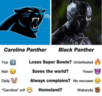 "Wtf, Black, and Black Panther: eGhettoGronk  Carolina Panther Black Panther  Loses Super Bowls? Undefeated  saves the world? Yessir  Yup  Nah C  DailyAlways complains? No excuses C  Carolina"" wtf  Homeland?  Wakanda Question: Do I have to see Pink Panther before Black Panther to understand the plot? 😌 https://t.co/ORtDpziNjx"