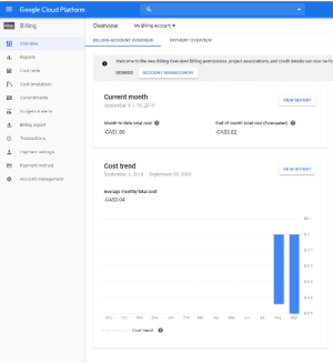 My Google Cloud instance runs a single Linux VM and costs - (Negative) 84 cents/month ‾\_(ツ)_/‾: EGoogle Cloud Platform  Billing  Overview  My Billing Account  BILLING ACCOUNT OVERVIEW  PAYMENT OVERVIEW  Hi!  Overview  Reports  Welcome to the new Billing Overview! Billing permissions, project associations, and credit details can now be fo  Cost table  DISMISS  ACCOUNT MANAGEMENT  Cost breakdown  Current month  Commitments  VIEW REPORT  September 1 18, 2019  wwws  Budgets & alerts  Month-to-date total cost  End-of-month total cost (forecasted)  Billing export  -CA$1.80  -CA$0.82  Transactions  Payment settings  Cost trend  Payment method  VIEW REPORT  September 1, 2018  September 30, 2019  Account management  Average monthly total cost  -CA$0.04  $0.1  $-0  $-0.1  S-0.2  $-0.3  $-0.4  S-0.5  Sep  Oct  Dec  Jan  Feb  Mar  Аpr  May  Jun  Jul  Aug  Sep  Nov  ?  Cost trend My Google Cloud instance runs a single Linux VM and costs - (Negative) 84 cents/month ‾\_(ツ)_/‾