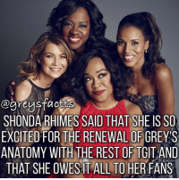 Double Tap if you are a fan of Grey's Anatomy, Scandal or How to Get Away with Murder! 💃🏻🍷+ Fact: Shonda Rhimes said that she is so excited for the renewal of grey's anatomy with the rest of tgit and that she owes it all to her fans! 💃🏻🍷 + - greysanatomy greys greysfacts greysabc shondarhimes scandal htgawm tgit: egreysfactta  SHONDA RHIMES SAID THAT SHE ISSO  EXCITED FOR THE RENEWAL OF GREYS  ANATOMY WITH THE REST OF TGITAND  THAT SHE OWES IT ALL TO HER FANS Double Tap if you are a fan of Grey's Anatomy, Scandal or How to Get Away with Murder! 💃🏻🍷+ Fact: Shonda Rhimes said that she is so excited for the renewal of grey's anatomy with the rest of tgit and that she owes it all to her fans! 💃🏻🍷 + - greysanatomy greys greysfacts greysabc shondarhimes scandal htgawm tgit