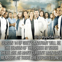 Tag Friends! 💃🏻🍷 + Fact: Season 14 of grey's anatomy will be the season of the series in which there are as many current main cast members as there are departed ones! 💃🏻🍷 + - greysanatomy greys greysfacts greysabc: egreystaotts  SEASON 14 0F GREYS ANATOMY WILL BE  THERE ARE AS MANY CURRENT MAN CAST  MEMBERS AS THERE ARE DEPARTED ONES Tag Friends! 💃🏻🍷 + Fact: Season 14 of grey's anatomy will be the season of the series in which there are as many current main cast members as there are departed ones! 💃🏻🍷 + - greysanatomy greys greysfacts greysabc
