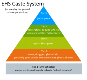 """Creepy, Ghetto, and School: EHS Caste System  (as seen by the general  school population)  Tier 5  jocks, preps  Tier 4  lesser jocks, popular whores,  popular assholes, """"influencers""""  Tier 3  regular kids guess  Tier 2  losers, druggies, ghetto kids,  genuinely good people who were never given a chance  Tier 1 (untouchables)  creepy nerds, neckbeards, retards, """"school shooters"""" Tier List for My School (works for most schools too!)"""