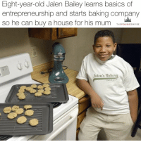 """AN EIGHT-YEAR-OLD baker has opened his own bakery with the goal of earning enough money to buy a home for his mum. . Jalen Bailey runs the entire business out of a rental home that he lives in with his mother, Sharhonda Mahan, in Fresno, California, and makes everything from scratch. . He started his own website, Jalen's Bakery, where he is offering an array of baked goods including cookies, muffins, cakes and bread – and he is already getting a lot of requests. . """"I wanted to save up a lot of money to get a house,"""" Jalen, who started baking at 5, told ABC. """"I just want one that me and my mum can be happy in."""" . For now, he's delivering the baked goods locally around Fresno with help from his mom — but he launched a GoFundMe, hoping to eventually ship nationwide. . """"I said I wanted to be a millionaire,"""" he added. """"I thought that wasn't possible but now I think it is."""" . Jalen has had the entrepreneurial bug since he was six and started an annual back-to-school drive at a local homeless shelter and made bracelets to sell at school carnivals. . He also took a business class in early June to learn how to start a lemonade stand, but decided to use those same skills to... . Read the full story on our site (link in bio). . YoungEmpire 👑: Eight-year-old Jalen Bailey learns basics of  entrepreneurship and starts baking company  so he can buy a house for his mum  THE YOUNG EMPIRE  Jalen's takeut AN EIGHT-YEAR-OLD baker has opened his own bakery with the goal of earning enough money to buy a home for his mum. . Jalen Bailey runs the entire business out of a rental home that he lives in with his mother, Sharhonda Mahan, in Fresno, California, and makes everything from scratch. . He started his own website, Jalen's Bakery, where he is offering an array of baked goods including cookies, muffins, cakes and bread – and he is already getting a lot of requests. . """"I wanted to save up a lot of money to get a house,"""" Jalen, who started baking at 5, told ABC. """"I just want one that me a"""