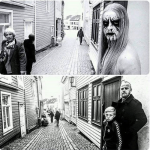 Einar Selvik as Kvitrafn of Gorgoroth, and x amount of years later with his son.: Einar Selvik as Kvitrafn of Gorgoroth, and x amount of years later with his son.