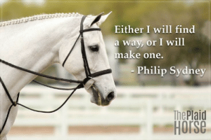 20 Motivational Quotes to Use at the Barn | The Plaid Horse Magazine: Either I will find  a way, or I will  make one.  Philip Sydney  The Plaid  Horse 20 Motivational Quotes to Use at the Barn | The Plaid Horse Magazine