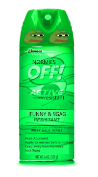 "9gag, Family, and Memes: eJohnson  A Family Curpany  NORMIES  OFF  normie resistant  IFUNNY & 9GAG  RESISTANT  repels mosqutoes that may  WEST NILE VIRUS  Pepe Approved  Apply to memes before posting  Keep away from  fuck 9gag  Normies  NET WT.60Z.(170 g <p>Found this at the local MLVS (Memelord Value Stores), could it be the solution to the normification crisis? via /r/MemeEconomy <a href=""http://ift.tt/2nGRLtF"">http://ift.tt/2nGRLtF</a></p>"