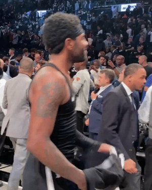 This is great! Kyrie Irving gave his jersey to his Dad & got a big hug from his sister after his first win with the Brooklyn Nets.   Via @RocNationSports  https://t.co/t5s6V7TtSJ: EK NY This is great! Kyrie Irving gave his jersey to his Dad & got a big hug from his sister after his first win with the Brooklyn Nets.   Via @RocNationSports  https://t.co/t5s6V7TtSJ