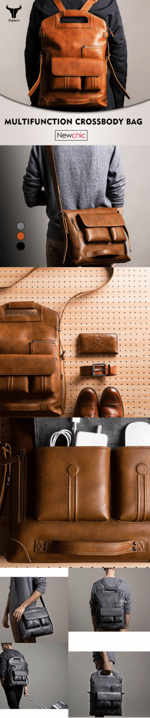 permanentfilemugglethings: Men Handbag Casual Multifunction Backpack Check out HERE : Ekphero  MULTIFUNCTION CROSSBODY BAG  Newchic permanentfilemugglethings: Men Handbag Casual Multifunction Backpack Check out HERE