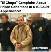 """Joaquin ElChapo Guzman has been in solitary confinement 23 hours a day since his extradition from Mexico two weeks ago. He and his lawyers have complained about the prison conditions. - FULL VIDEO & STORY AT PMWHIPHOP.COM LINK IN BIO: El Chapo"""" Complains About  Prison Conditions in NYC Court  Appearance!  @pmwhiphop Joaquin ElChapo Guzman has been in solitary confinement 23 hours a day since his extradition from Mexico two weeks ago. He and his lawyers have complained about the prison conditions. - FULL VIDEO & STORY AT PMWHIPHOP.COM LINK IN BIO"""
