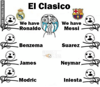 Emoji, Iphone, and Memes: El Clasico  We have  We have  Ronaldo  Messi  MTA  Benzema  Suarez  MTA  James  Neymar  Re Modric  Iniesta  ADD  ATD  AD  AD Can't wait! 🙈😻 🔺FREE iPhone Football Emojis, Link In Our Bio! 🔥