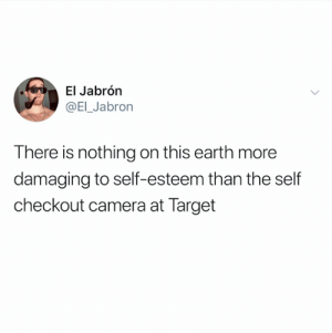 Words of truth (credit and consent: @El_Jabron on Twitter): El Jabrón  @EI_Jabron  There is nothing on this earth more  damaging to self-esteem than the self  checkout camera at Target Words of truth (credit and consent: @El_Jabron on Twitter)
