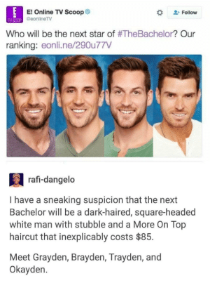 Haircut, Bachelor, and Square: El Online TV Scoop  eonline TV  + Follow  TV SCOCP  Who will be the next star of #TheBachelor? Our  ranking: eonli.ne/290u77V  rafi-dangeldo  1 have a sneaking sust-haired, square headed  Bachelor will be a dark-haired, square-headed  white man with stubble and a More On Top  haircut that inexplicably costs $85.  Meet Grayden, Brayden, Trayden, and  Okayden. Im noticing a pattern here