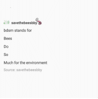 Ironic, Bdsm, and Bees: el savethebeesbby  bdsm stands for  Bees  Do  So  Much for the environment  Source: savethebeesbby