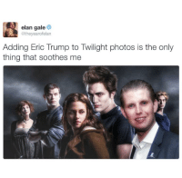 Twilight: elan gale  @theyearofelan  Adding Eric Trump to Twilight photos is the only  thing that soothes me
