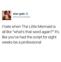 "The Little Mermaid, Word, and The Little Mermaid: elan gale  @theyearofelan  I hate when The Little Mermaid is  all like ""what's that word again?"" It's  like you've had the script for eight  weeks be a professional"