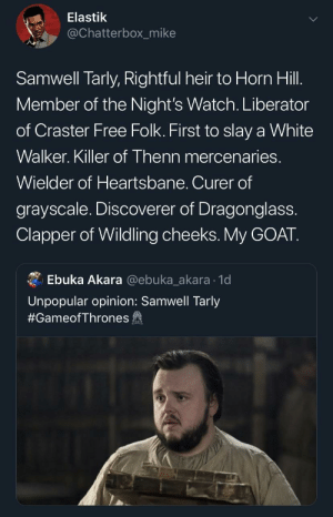 Blackpeopletwitter, Samwell Tarly, and Goat: Elastik  @Chatterbox_mike  Samwell Tarly, Rightful heir to Horn Hill.  Member of the Night's Watch. Liberator  of Craster Free Folk. First to slay a White  Walker. Killer of Thenn mercenaries.  Wielder of Heartsbane. Curer of  grayscale. Discoverer of Dragonglass.  Clapper of Wildling cheeks.My GOAT.  Ebuka Akara @ebuka_akara 1d  Unpopular opinion: Samwell Tarly  #GameofThrones fa 👑 (via /r/BlackPeopleTwitter)