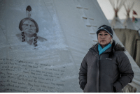 126 years ago, Sitting Bull was killed by police while defending Standing Rock. Today, his great great granddaughter Brenda White Bull carries out his legacy. (via Indigenous Rising Media): eld to  rs wen our animal  sbrt the land  creed of  disease this  have them. They vould rview su  trt be Math r Eartl s they follow wbs  with  their nf ours for their own  they offend waste. They have little respect ter  give our ideal ev vill  up the le  thnt 126 years ago, Sitting Bull was killed by police while defending Standing Rock. Today, his great great granddaughter Brenda White Bull carries out his legacy. (via Indigenous Rising Media)