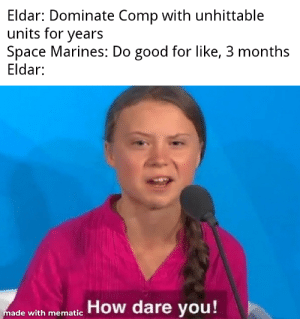 Good, Marines, and Space: Eldar: Dominate Comp with unhittable  units for years  Space Marines: Do good for like, 3 months  Eldar:  How dare you!  made with mematic Eldar Mad