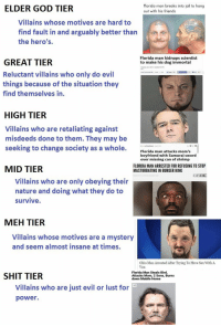 : ELDER GOD TIER  Florida man breaks into jail to hang  out with his friends  Villains whose motives are hard to  find fault in and arguably better than  the hero's.  Florida man kidnaps scientist  to make his dog immortal  GREAT TIER  Reluctant villains who only do evil  things because of the situation they  find themselves in.  HIGH TIER  Villains Who are retaliating against  misdeeds done to them. They may be  seeking to change society as a whole.  by Brian Abrams ug3  Florida man attacks mom's  boyfriend with Samurai sword  over missing can of shrimp  MID TIER  FLORIDA MAN ARRESTED FOR REFUSING TO STOP  MASTURBATING IN BURGER KING  Villains who are only obeying their  nature and doing what they do to  survive  MEH TIER  Villains whose motives are a mystery  and seem almost insane at times  Ohio Man Arrested After Trying To Have Sex With A  Van  SHIT TIER  Florida Man Steals Bird,  Attacks Mom, 2 Sons, Burns  down Mobile Home  Villains who are just evil or lust for  power.