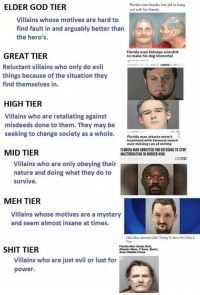 Burger King, Florida Man, and Friends: ELDER GOD TIER  Florida man breaks into jail to hang  out with his friends  Villains whose motives are hard to  find fault in and arguably better than  the hero's  Florida man kidnaps scientist  to make his dog immortal  GREAT TIER  Reluctant villains who only do evil  things because of the situation they  find themselves in.  HIGH TIER  Villains who are retaliating against  misdeeds done to them. They may be  seeking to change society as a whole. Forida man attacks mam  boyfriend with Samurai sword  over missing can of shrimp  MID TIER  FLORIDA MAN ARRESTED FOR REFUSING TO STOP  MASTURBATING IN BURGER KING  Villains who are only obeying their  nature and doing what they do to  survive.  MEH TIER  Villains whose motives are a mystery  and seem almost insane at times.  Ohio Man Arrested After Trying To Have Ses With A  Van  SHIT TIER  Florida Man Steals Bird,  Attacks Mom, 2 Sons, Buns  down Mobile Home  Villains who are just evil or lust for  power.
