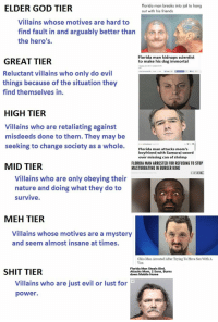 Burger King, Florida Man, and Friends: ELDER GOD TIER  Florida man breaks into jail to hang  out with his friends  Villains whose motives are hard to  find fault in and arguably better than  the hero's.  Florida man kidnaps scientist  to make his dog immortal  GREAT TIER  Reluctant villains who only do evil  things because of the situation they  find themselves in.  EST  HIGH TIER  Villains Who are retaliating against  misdeeds done to them. They may be  seeking to change society as a whole.  Florida man attacks mom's  boyfriend with Samurai sword  over missing can of shrimp  MID TIER  FLORIDA MAN ARRESTED FOR REFUSING TO STOP  MASTURBATING IN BURGER KING  Septomos2015 acbn Cay  Villains who are only obeying their  nature and doing what they do to  survive  MEH TIER  Villains whose motives are a mystery  and seem almost insane at times  Ohio Man Arrested After Trying To Have Sex With A  Van  SHIT TIER  Florida Man Steals Bird,  Attacks Mom, 2 Sons, Burns  down Mobile Home  Villains who are just evil or lust for  power.