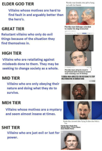 Being Alone, Burger King, and Florida Man: ELDER GOD TIER  Florida man breaks into jail to hang  out with his friends  Villains whose motives are hard to  find fault in and arguably better than  the hero's.  Florida man kidnaps scientist  to make his dog immortal  GREAT TIER  Reluctant villains who only do evil  things because of the situation they  find themselves in.  EST  HIGH TIER  Villains who are retaliating against  misdeeds done to them. They may be  seeking to change society as a whole.  Florida man atan uraisword  Florida man attacks mom's  boyfriend with Samurai sword  over missing can of shrimp  MID TIER  FLORIDA MAN ARRESTED FOR REFUSING TO STOP  MASTURBATING IN BURGER KING  Villains who are only obeying their  nature and doing what they do to  survive  MEH TIER  Villains whose motives are a mystery  and seem almost insane at times.  Florida Man Arrested After Trying To Have Sex With A  Van  SHIT TIER  Florida Man Steals Bird  Attacks Mom, 2 Sons, Burns  down Mobile Home  Villains who are just evil or lust for  power.