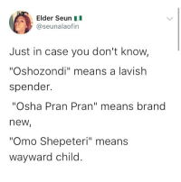 "Memes, Brand New, and 🤖: Elder Seun  @seunalaofin  Just in case you don't know,  ""Oshozondi"" means a lavish  spender.  ""Osha Pran Pran"" means brand  new  ""Omo Shepeteri"" means  wayward child Now you know 😂😂😂 KraksTV"
